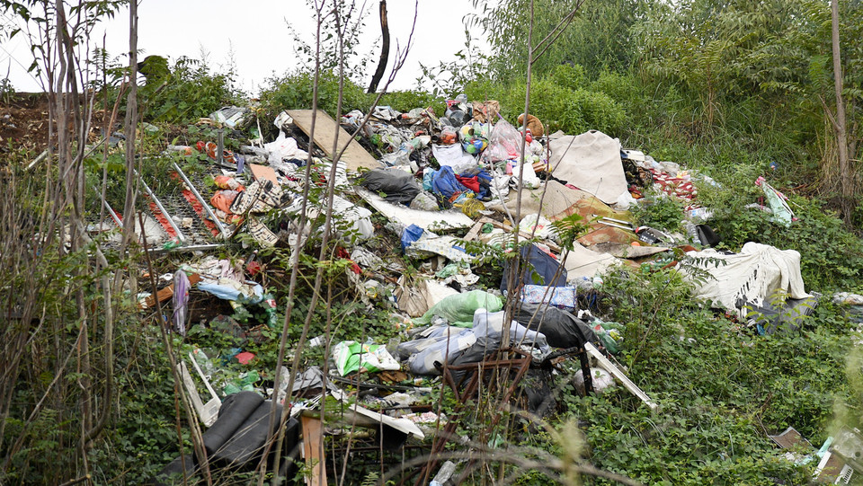 Una grossa montagna di rifiuti in mezzo alle sterpaglie ©