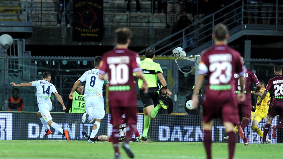 Livorno-Lecce - Palombi segna il gol dello 0-2 ©