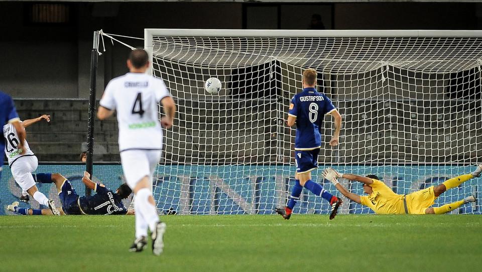 Verona-Spezia - Il gol del provvisorio vantaggio spezzino. Segna Bdaoui ©