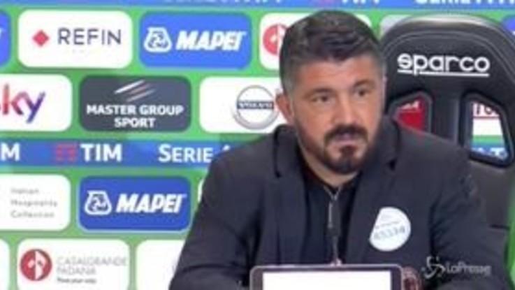 """Sassuolo-Milan, Gattuso: """"I gol da fuori? Non si preparano"""""""