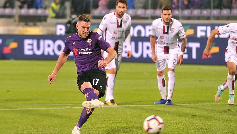 Il gol di Veretout che porta la Fiorentina in vantaggio 1-0 ©