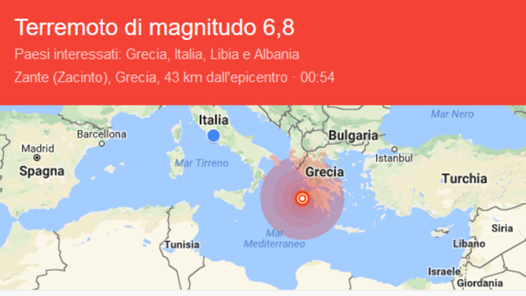 Grecia, terremoto 6.8: paura anche in Italia per allerta tsunami
