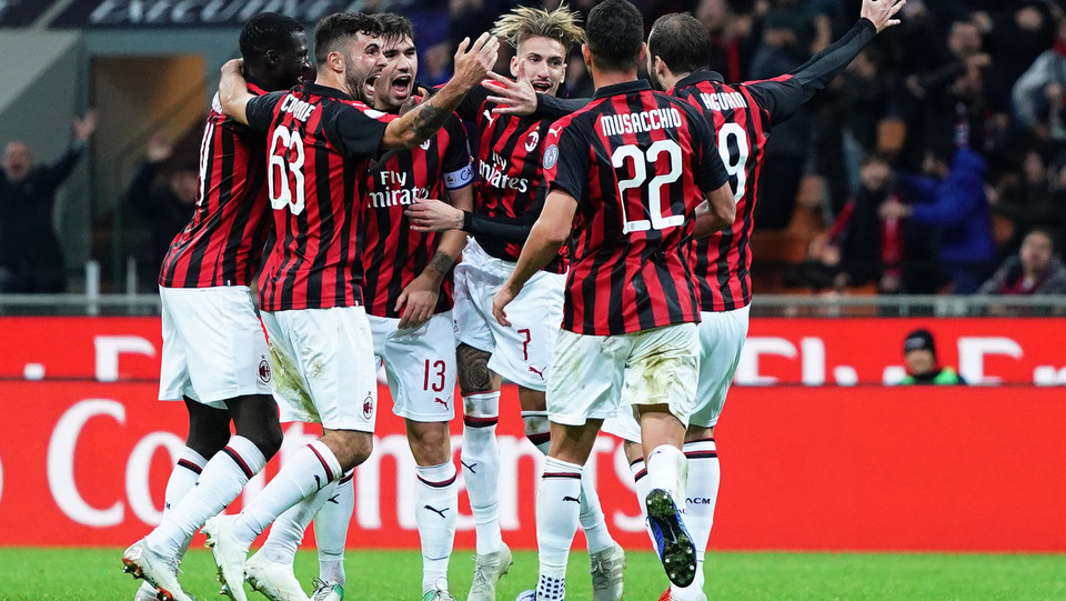 Il Milan esulta dopo il gol di Romagnoli, ora è quarto in classifica ©