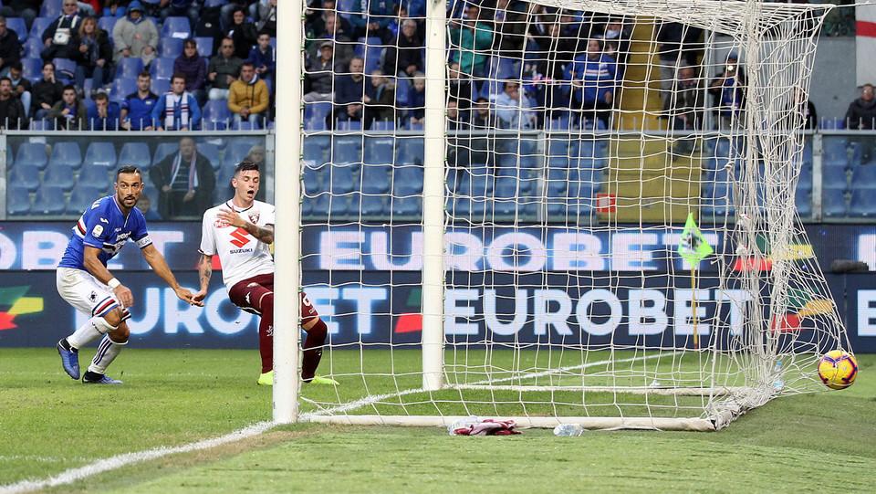 Il gol di Quagliarella per la Sampdoria ©
