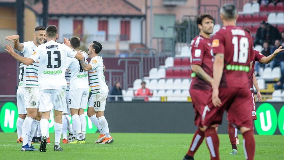 Cittadella-Venezia 3-2 - I giocatori del Venezia esultano dopo l'autogol di Drudi ©