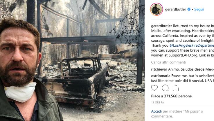 """Incendi in California, distrutta anche la casa di Gerard Butler: """"Momenti terribili"""""""