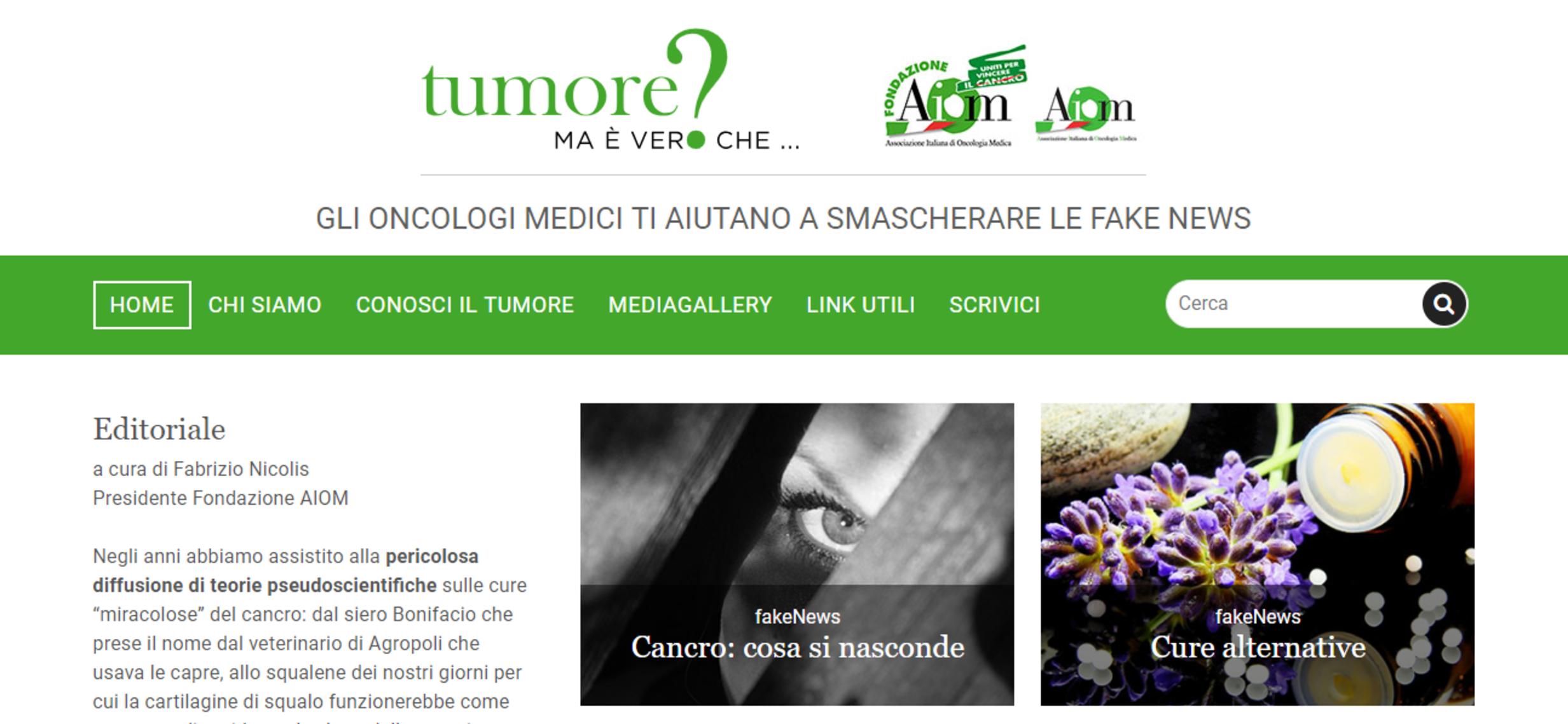Tumori, crescono le ricerche  sul portale anti fake news degli oncologi