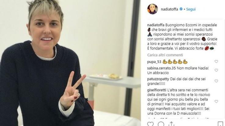 """Nadia Toffa ricomincia la chemio: """"Grazie ai medici per il sostegno e i sorrisi"""""""