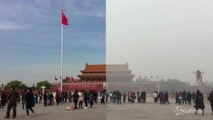Pechino con e senza smog, come cambia la città