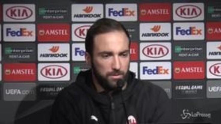 """Higuain: """"Milan poco fortunato ma possiamo lottare per vincere l'Europa League"""""""