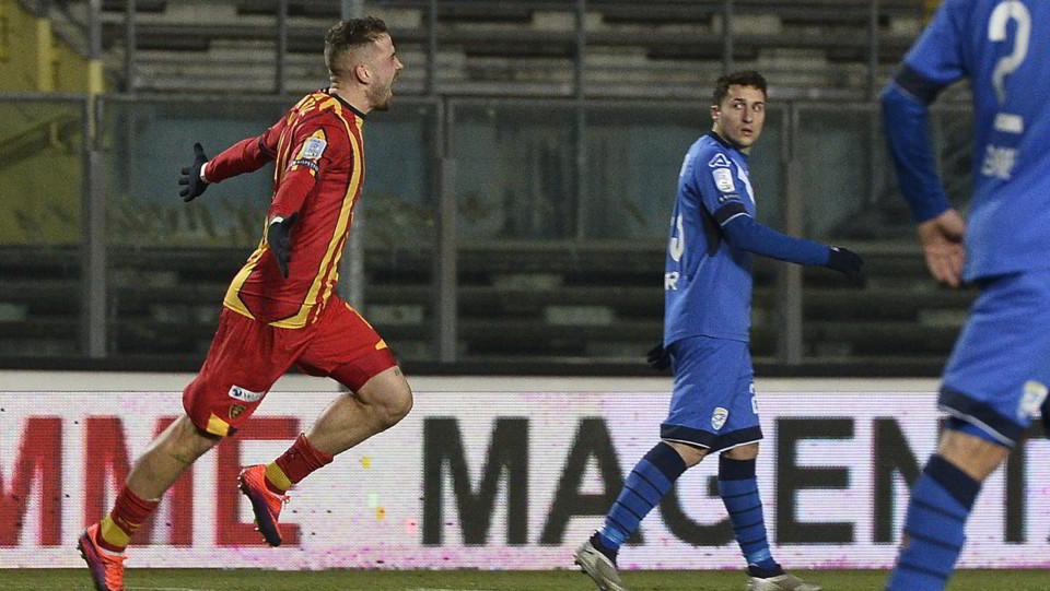 Brescia-Lecce 2-1. La Mantia esulta dopo il vantaggio ospite ©
