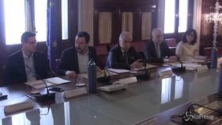Salvini, le immagini dal Comitato ordine e sicurezza al Viminale
