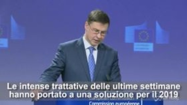 "Ok Europa alla manovra, Dombrovskis all'Italia: ""Evitate procedure per deficit eccessivo"""