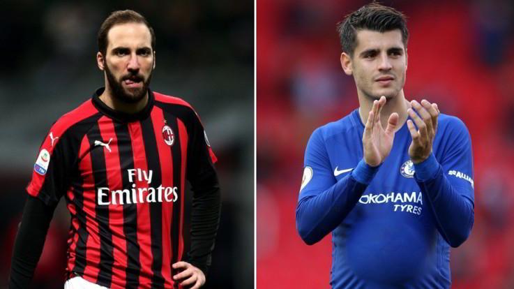 """Milan, malessere Higuain e idea Morata. Sarri: """"Il Pipita è fantastico"""", Gattuso: """"Me lo tengo stretto"""""""