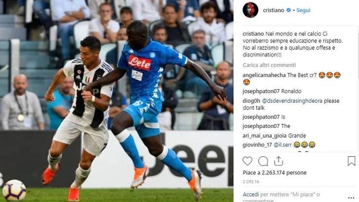 """Da Ronaldo al sindaco di Milano, solidarietà a Koulibaly: """"Quei buu una vergogna, basta razzismo"""""""
