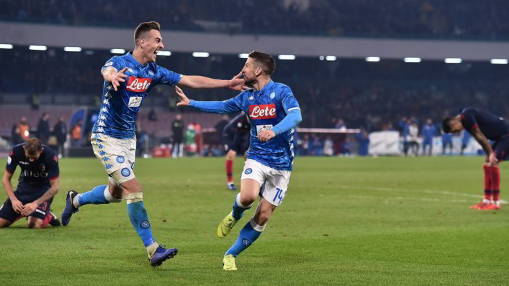 Serie A, il Napoli vola con Milik-Mertens: un buon Bologna ko 3-2 nel finale