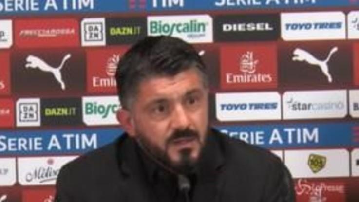"""Gattuso: """"Higuain spero si sia sbloccato, Donnarumma smanetti di meno col telefono"""""""