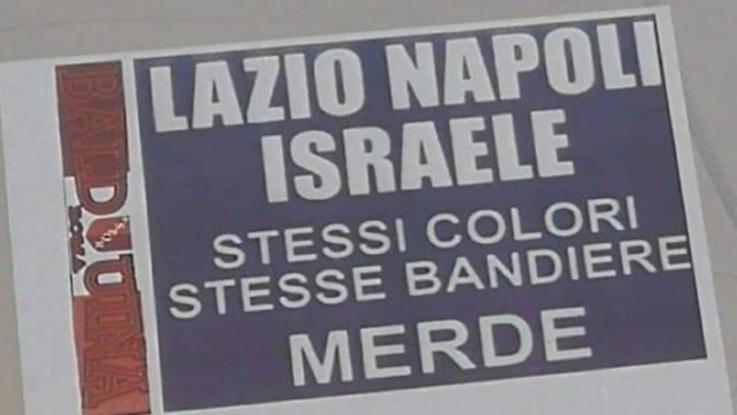 """Manifesti antisemiti degli ultras della Roma: """"Lazio, Napoli, Israele, stessi colori"""""""