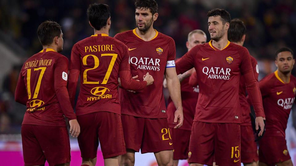 La Roma festeggia a fine gara, ai quarti ora c'è la Fiorentina ©