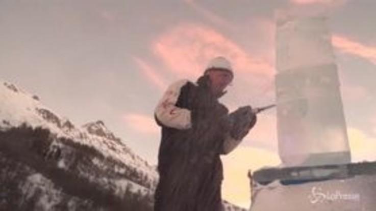 Francia, la gara di sculture di ghiaccio nella Savoia