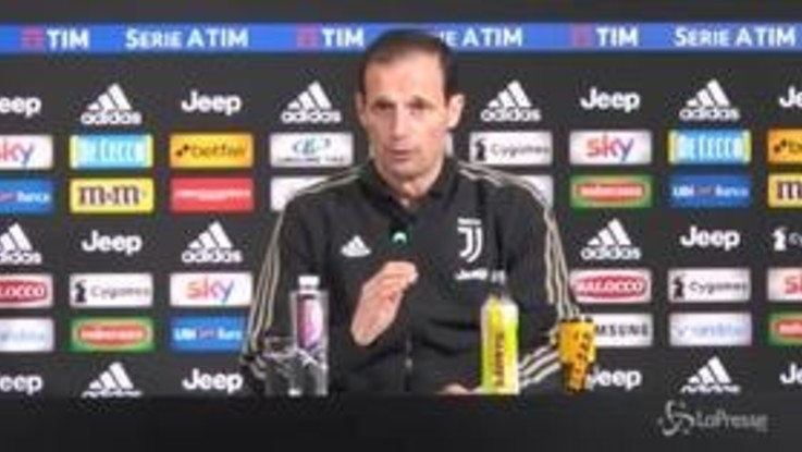 """Juve, Allegri: """"Chiellini out 10-15 giorni. La Champions? Il calcio non è la playstation"""""""