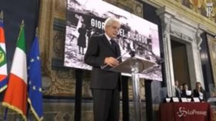 """Foibe, Mattarella: """"Una grande tragedia italiana"""""""