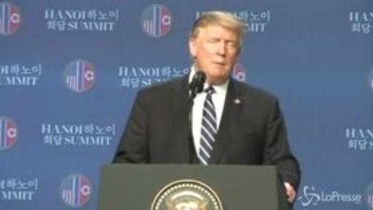 """Trump su Nord Corea: """"Volevano togliessimo tutte le sanzioni"""""""