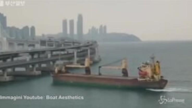 Corea del Sud, il comandante è ubriaco: la nave si schianta contro il ponte