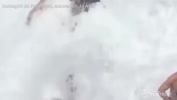 Sullo scoglio per un video: un'onda gigante le spazza via