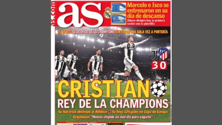 """Juve-Atletico, la stampa celebra Ronaldo: """"Re della Champions, impone la sua legge"""""""