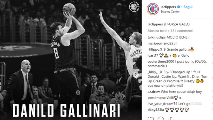 Nba, Gallinari trascina Clippers, Spurs di Belinelli ok