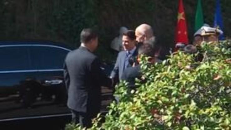 Xi Jinping arriva a Villa Madama per l'incontro con Conte