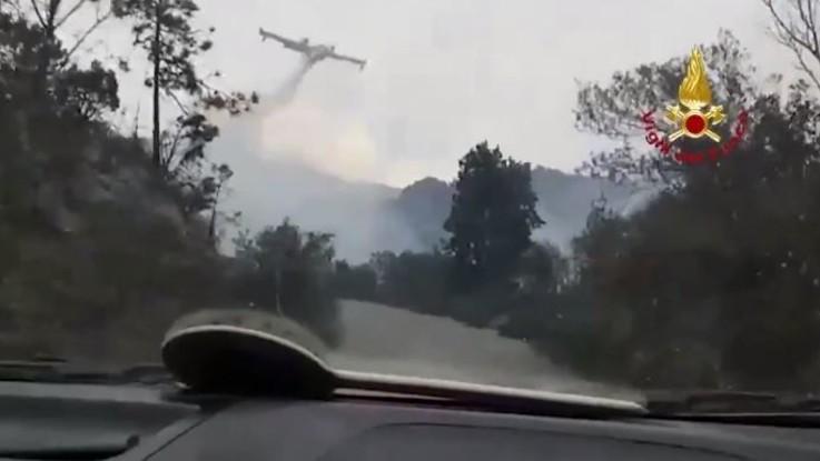 Genova, fiamme a Cogoleto: i canadair in azione