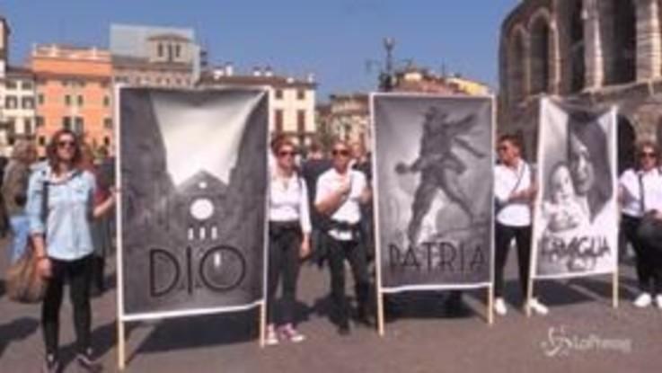 """Verona, """"Dio, patria, famiglia"""": i cartelloni alla marcia pro life"""