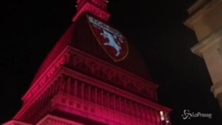 Grande Torino, la Mole Antonelliana si illumina di granata