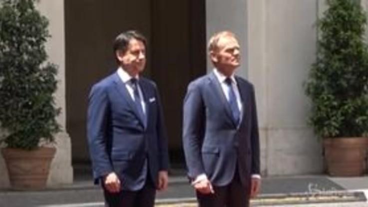 Roma, il premier Conte riceve il presidente del Consiglio europeo Tusk