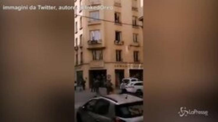 Esplosione a Lione, la zona recintata e sorvegliata