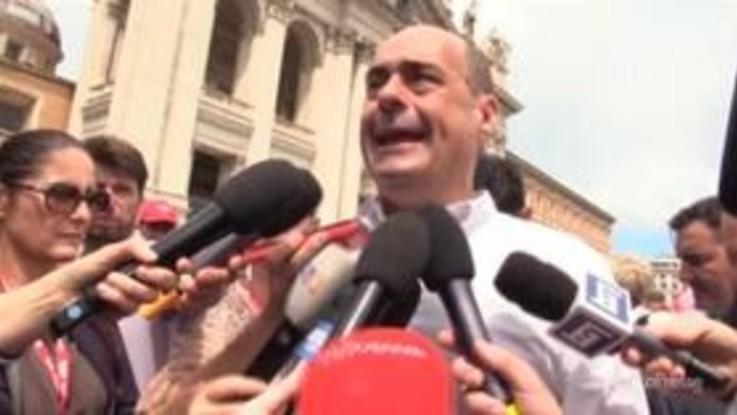 """Corteo pensionati, Zingaretti: """"Questo governo non è più una ricetta per rimettere in piedi l'Italia"""""""