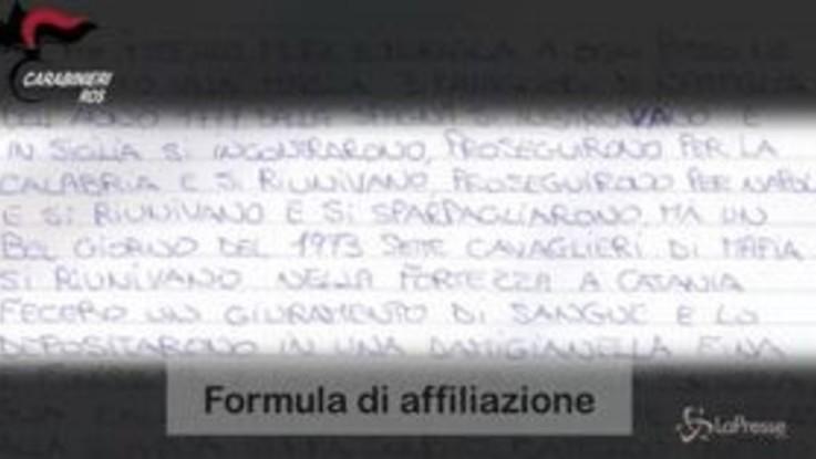 Mafia, smantellato il clan Fragalà: trovato il manoscritto di affiliazione