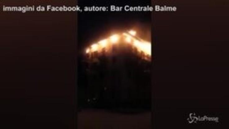 Torino, in fiamme lo storico Albergo Camussot di Balme, ospitò anche D'Annunzio