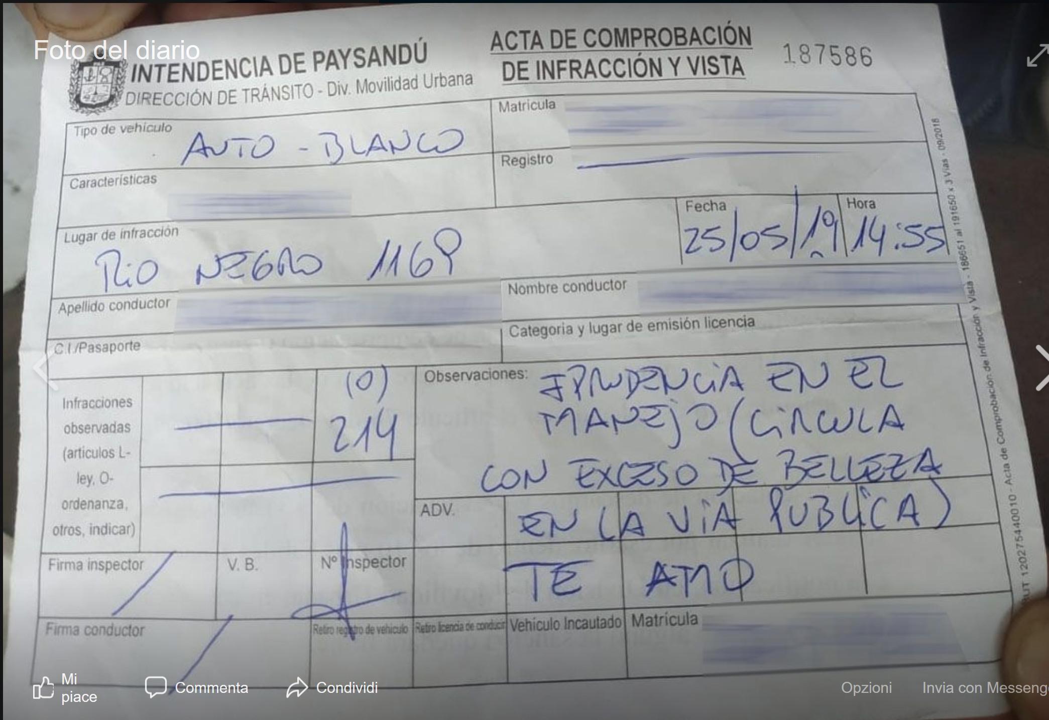 """Uruguay, vigile multa una donna """"per eccesso di bellezza"""""""
