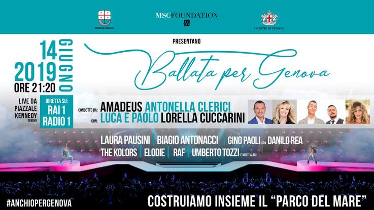 """""""Ballata per Genova""""  spettacolo e solidarietà in piazza e in tv"""