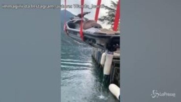 Disavventura per Wanda Nara: si ribalta in moto d'acqua sul Lago di Como