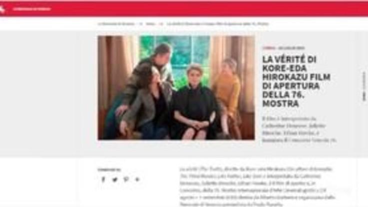 Festival di Venezia, Kore-eda apre la rassegna con 'La Verité'