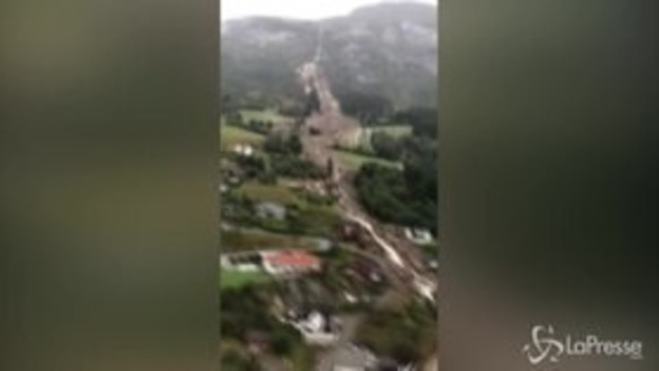 Norvegia, le immagini aeree di una frana nell'ovest del Paese
