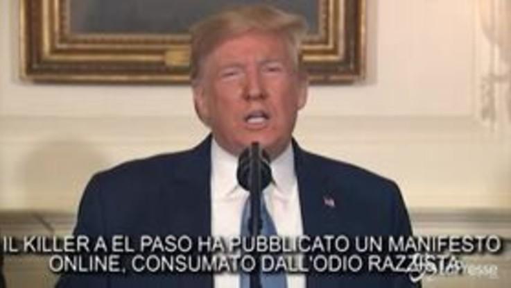 """Stragi a El Paso e Dayton, Trump condanna """"il razzismo, l'intolleranza e il suprematismo bianco"""""""