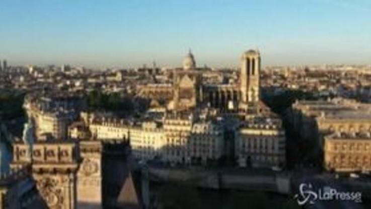 Notre-Dame, i lavori di ricostruzione nelle riprese aeree