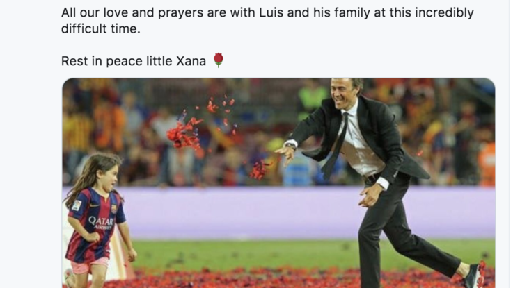 Dramma familiare per Luis Enrique, muore la figlia di 9 anni