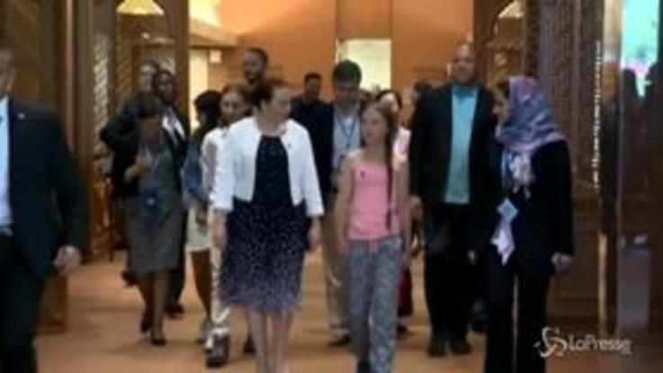 Greta Thunberg in visita alle Nazioni Unite