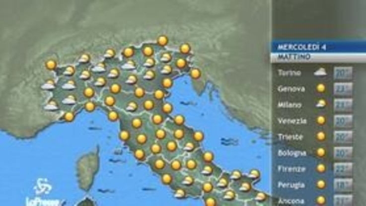 Previsioni meteo del 4 settembre